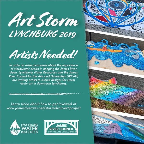 "We want YOUR art on our storm drains...again! We've partnered back with @lynchburgh20 for ArtStorm 2019!  Everything that enters our storm drain system is transported directly to our streams and the James River--that includes trash, pesticides, gasoline, and debris! Help us raise awareness about why there should be ""Only Rain Down the Drain"" with your original artwork.  Read more here and submit your design:  http://www.jamesriverarts.net/storm-drain-art-project  #artstormlyh  #jamesriverarts #onlyraindownthedrain #lynchburgh2o"