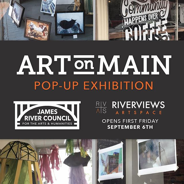 Next week, we'll not only be at GetDowntown... but also opening a pop-up exhibit for Art on Main at @riverviews_artspace! Stop by that evening to see work from the participating artists all in one place.