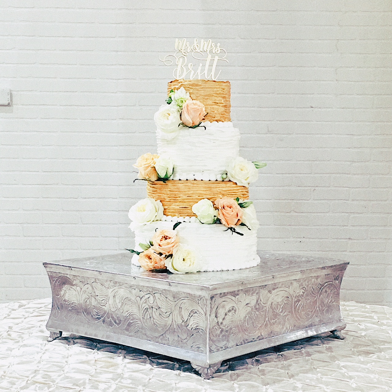 Gold Ruffle Wedding Cake