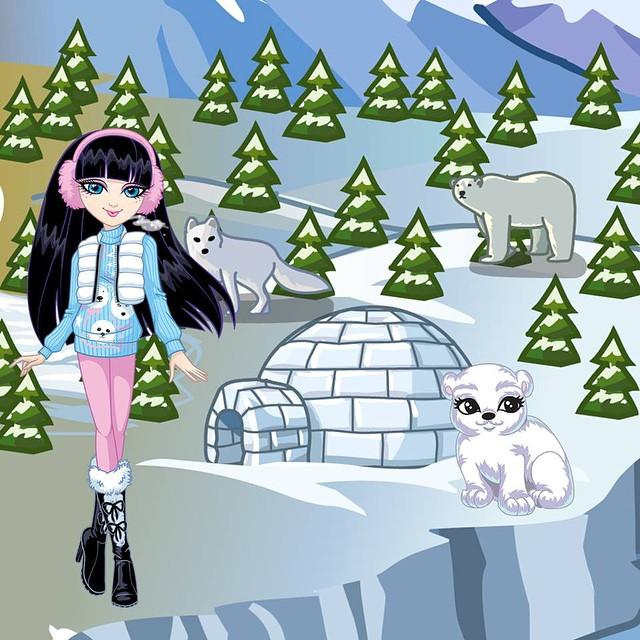 Kazumi and her polar bear cub friend Ella #kazumi #zeeniedollz #ecofriendly #green #recyclable #fashion #dolls #polarbear #ecowarrior