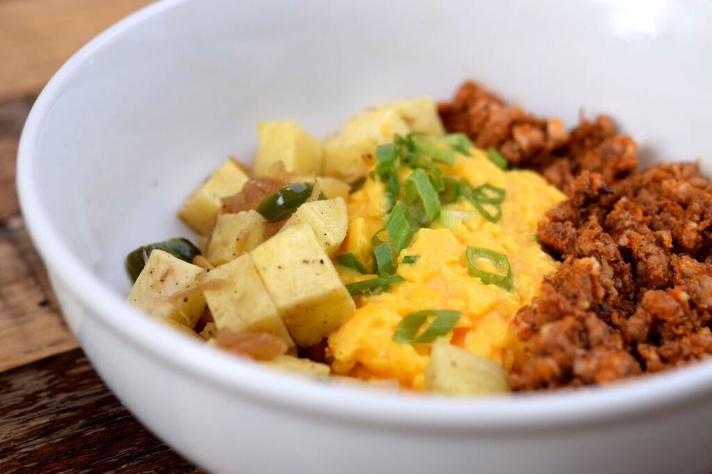 Egg, Chorizo and Sweet Potato Scramble | photo courtesy of 100eats