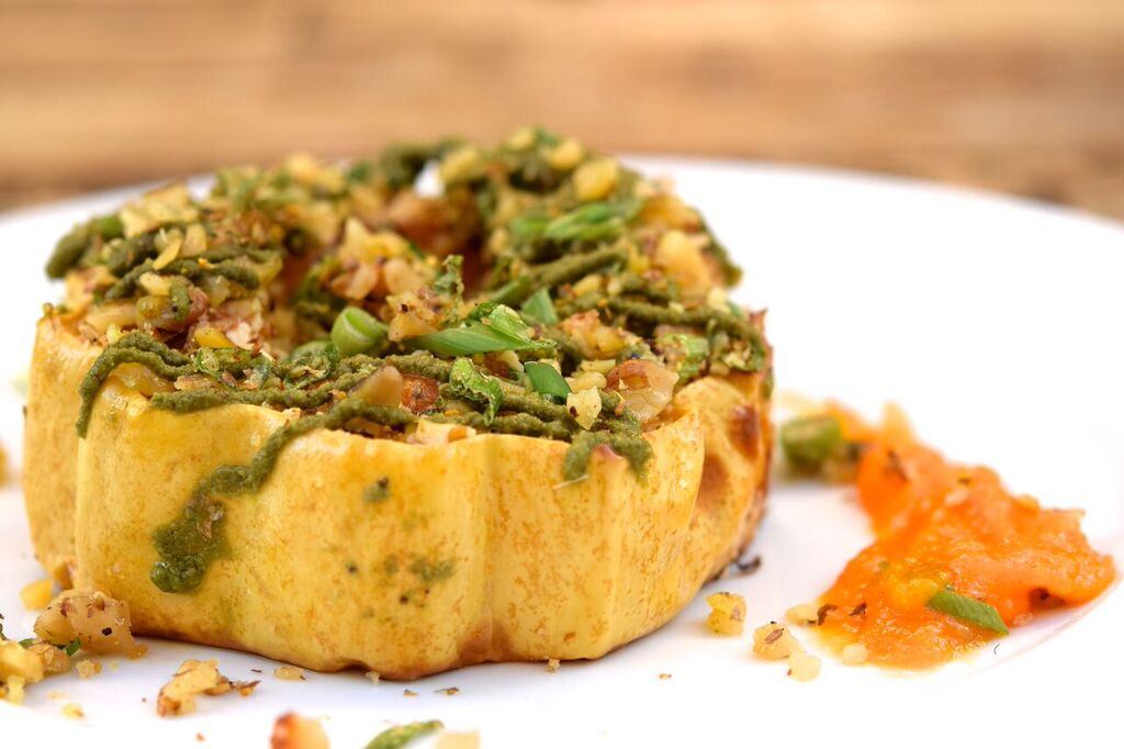 Stuffed Acorn Squash Rings with Persimmon Butternut Puree | photo courtesy of 100eats