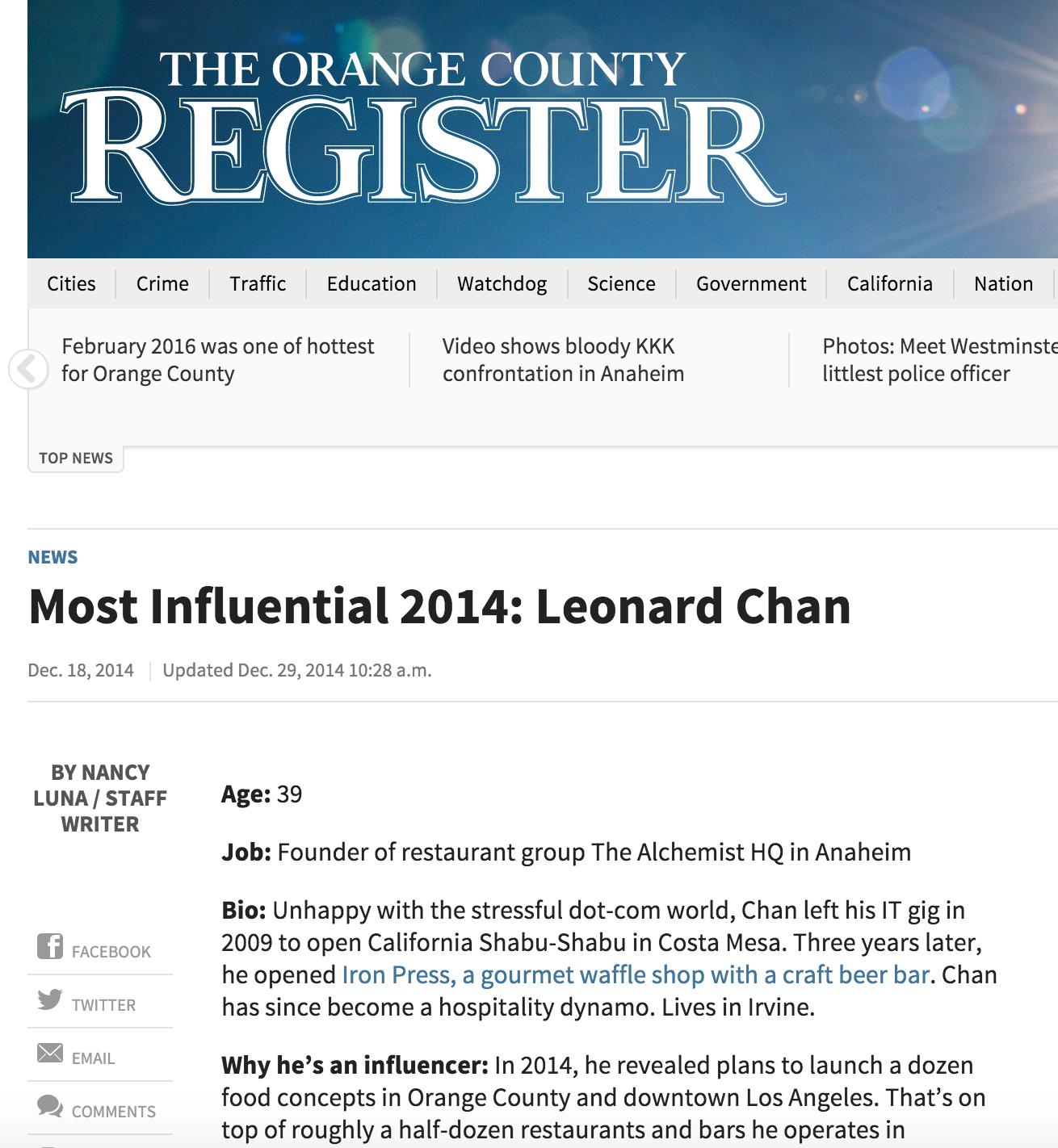 OC Register Article highlights owner/ounder Chan's influence on the OC restaurant scene