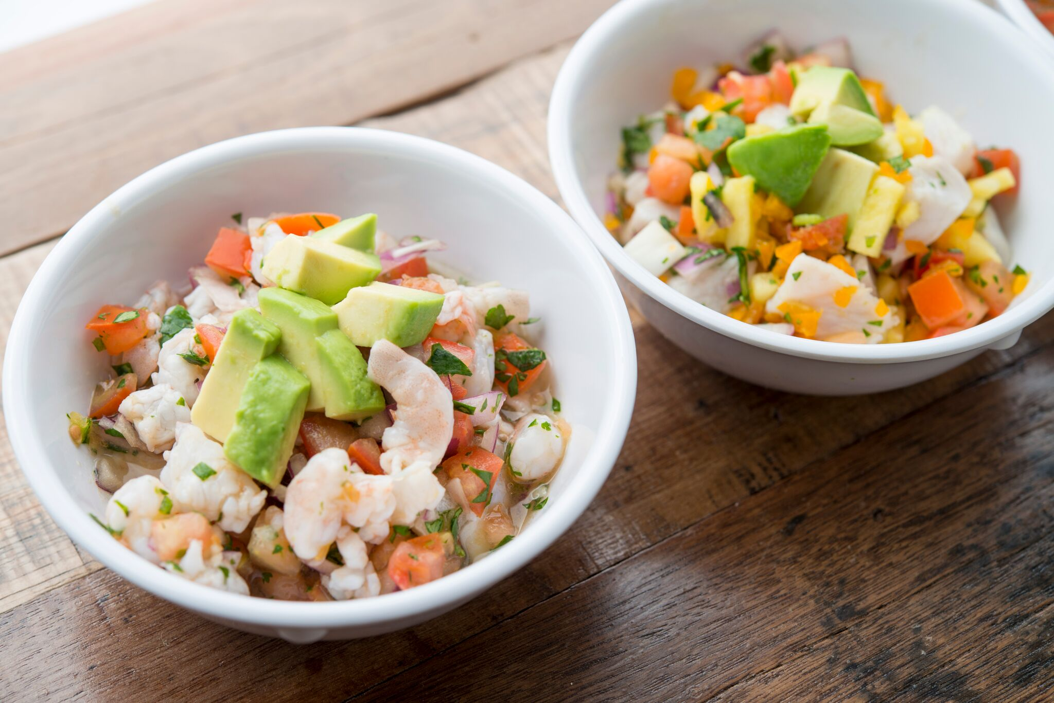 Ceviche and Poke bowls at MAR, located within 4th Street Market | photo courtesy of Anne Watson Photography