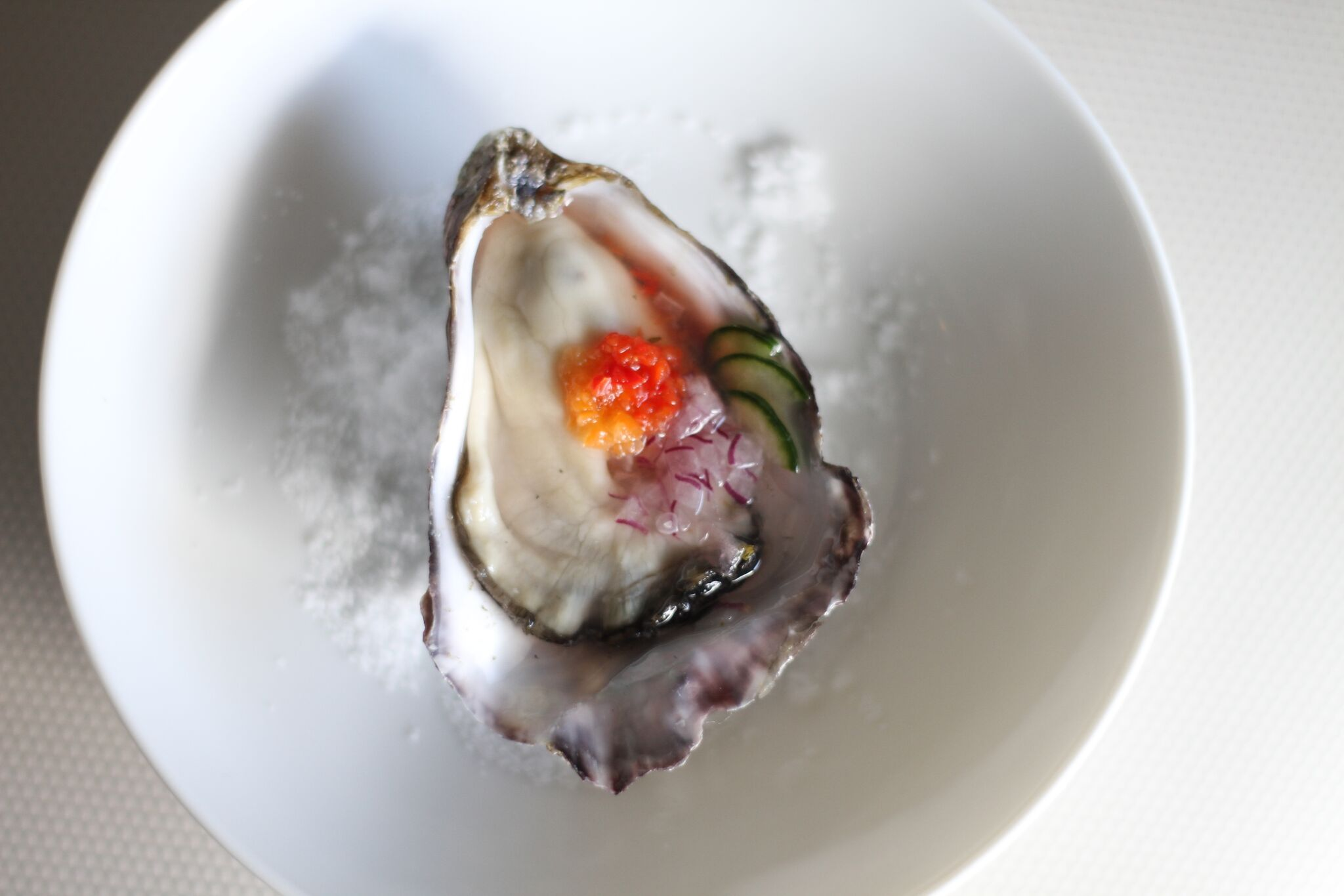 Fresh Oyster with house grated horseradish, habanero salsa and cucumber