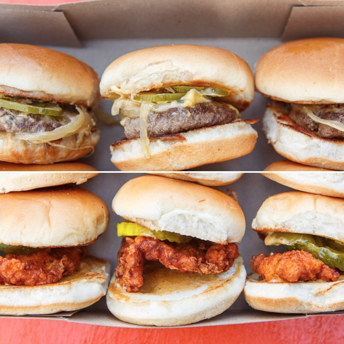 Cheeseburger + Spicy Fried Chicken Slider Six Pack | Photo courtesy of Bowery Street on Instagram