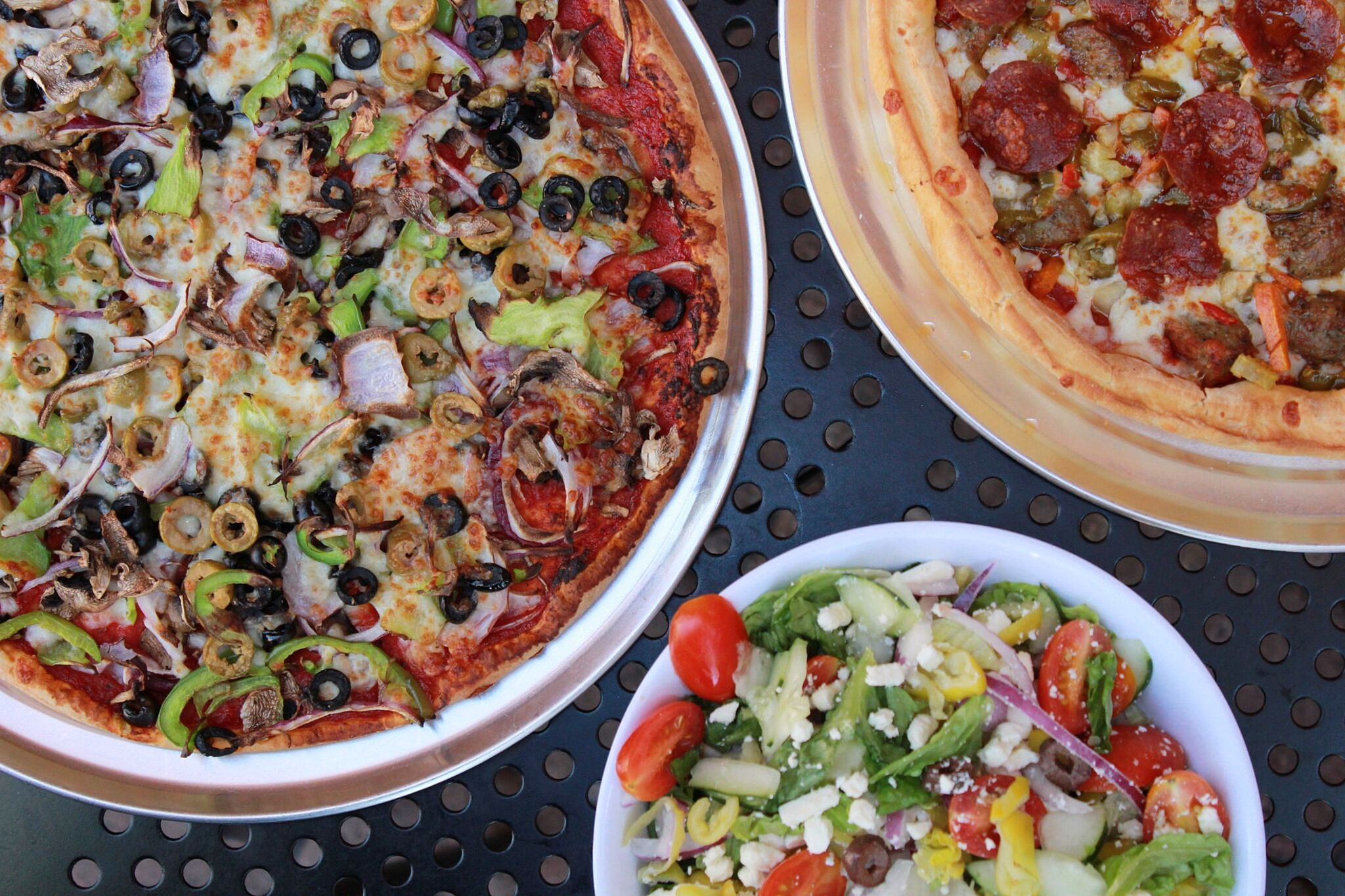 Da Works Thin Crust, Cobb Salad, and Old School Deep Dish | photo courtesy of 100eats