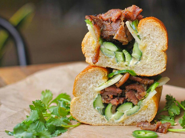 Grilled Lemongrass-Mustard Pork Banh Mi   photo courtesy of @snaptaste on instagram