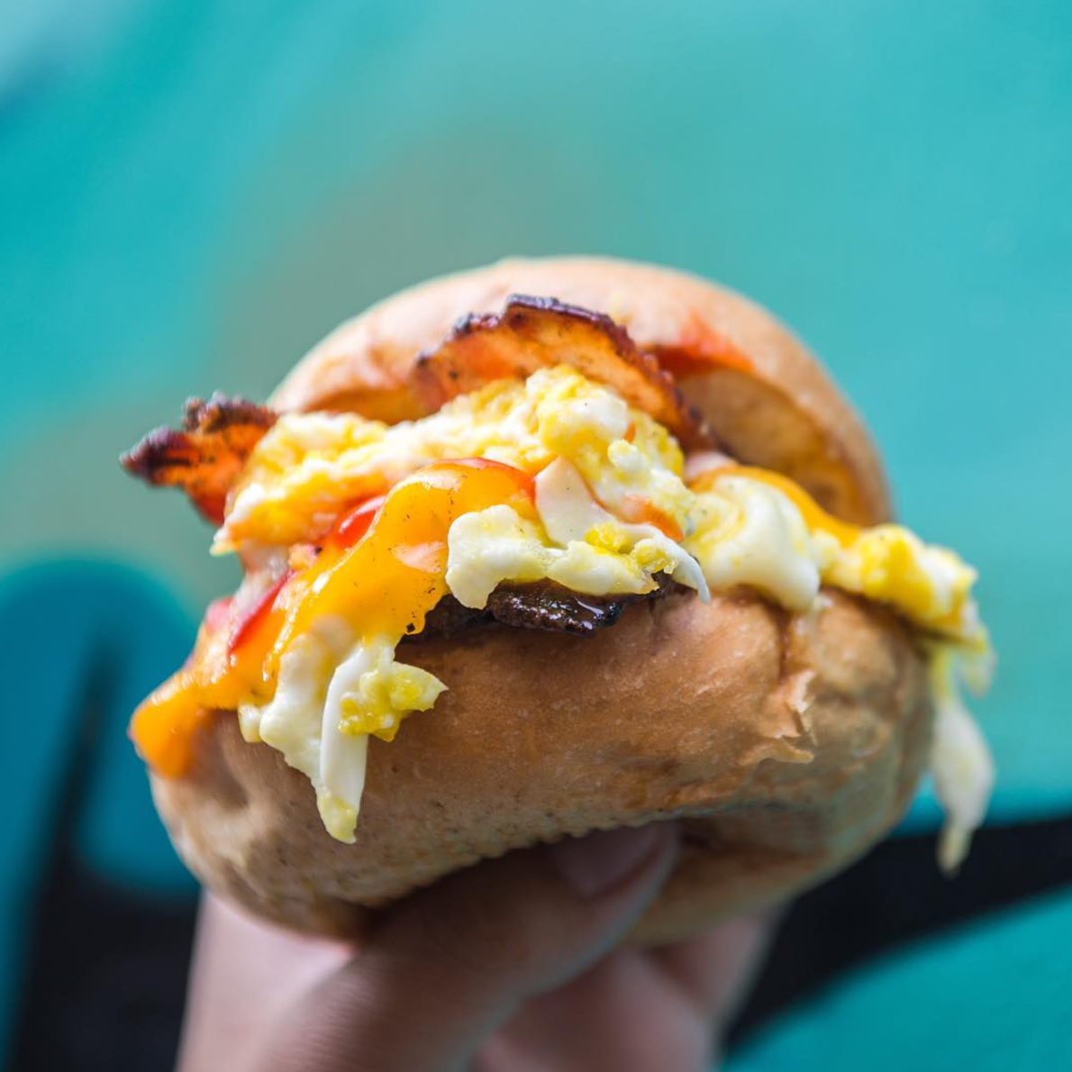 Candied Bacon Egg & Cheese Sandwich | photo courtesy of @feastie.boys on instagram