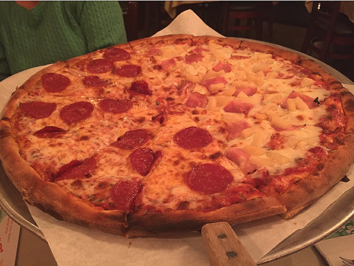 Pizzeria La Piccola's Pepperoni Pizza paired with Hawaiian | Photo courtesy of Brenda Mars via Instagram