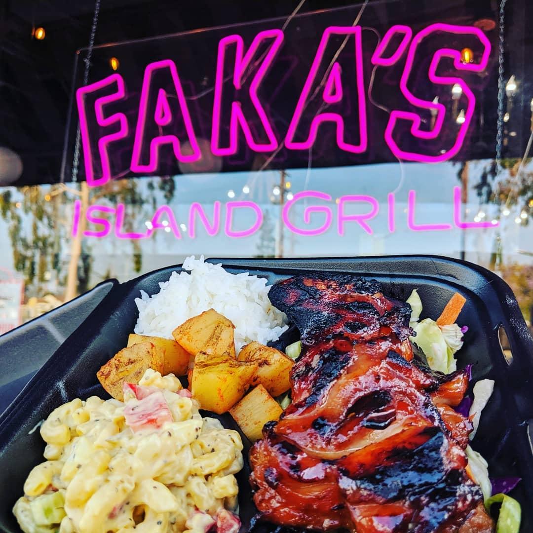 Hawaiian plate from Faka's Island Grill | photo courtesy of Faka's Island Grill