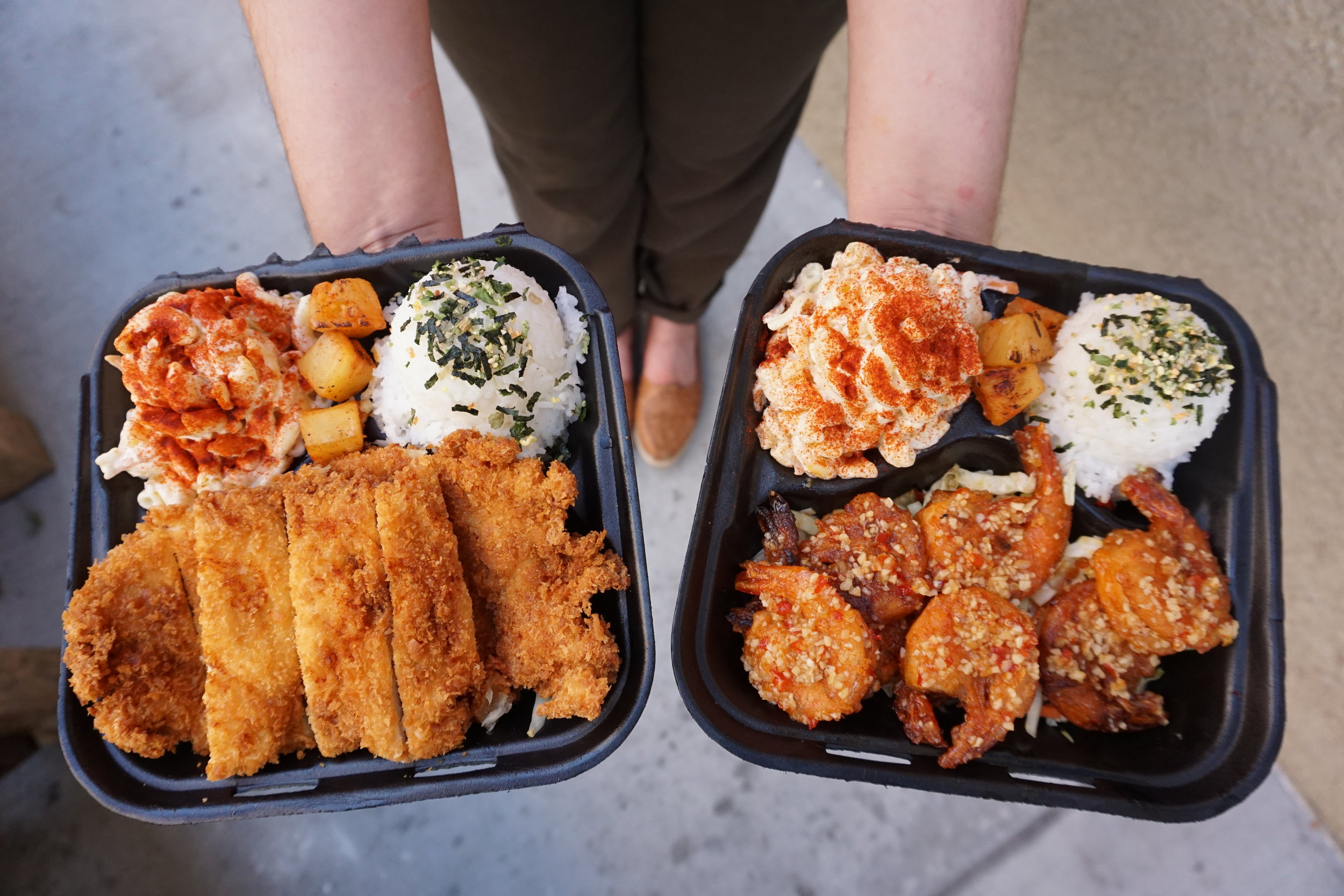 Faka Island Grill's popular Chicken Katsu Plate and Garlic Shrimp Plate | photo courtesy of 100inc Agency