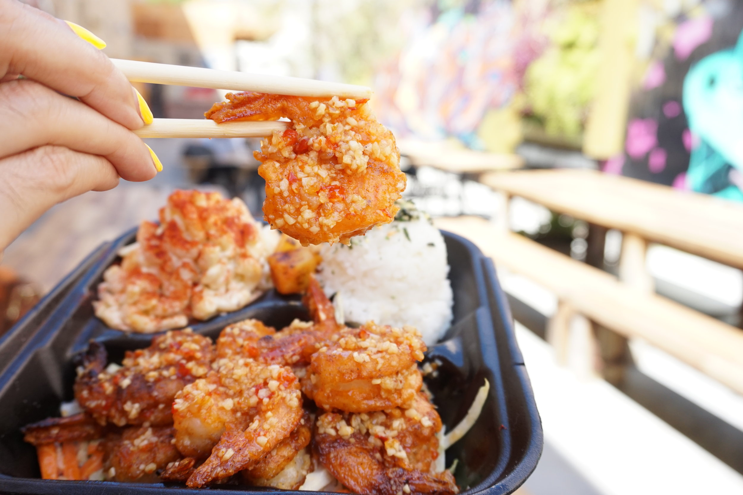 Faka's Island Grill bringing the flavors of the South Pacific through their Garlic Shrimp, now available at 4th Street Market | photo courtesy of 100inc Agency
