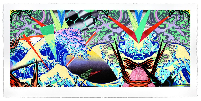 TROPICÁLIA TSUNAMI REMIX 2.0  , 2019, Gouache & acrylic over archival pigment print on fine art paper, 21 × 43 in (53.3 × 109.2 cm)