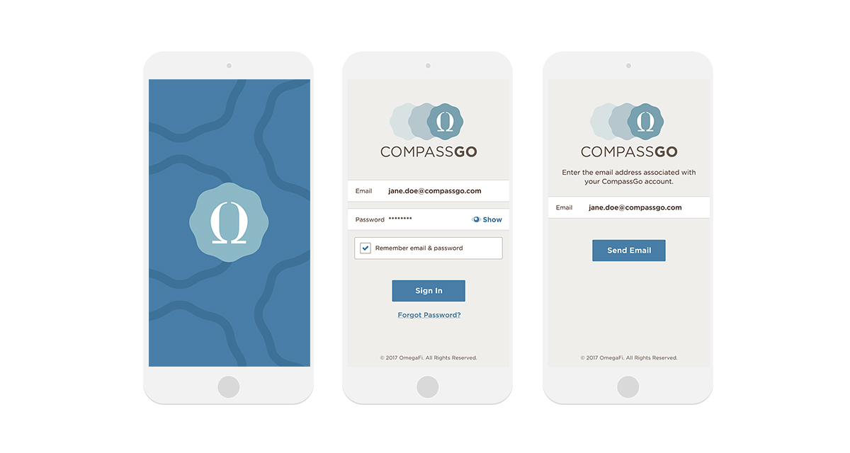 OmegaFi CompassGo App — Heather Dickens | Creative, UX/UI