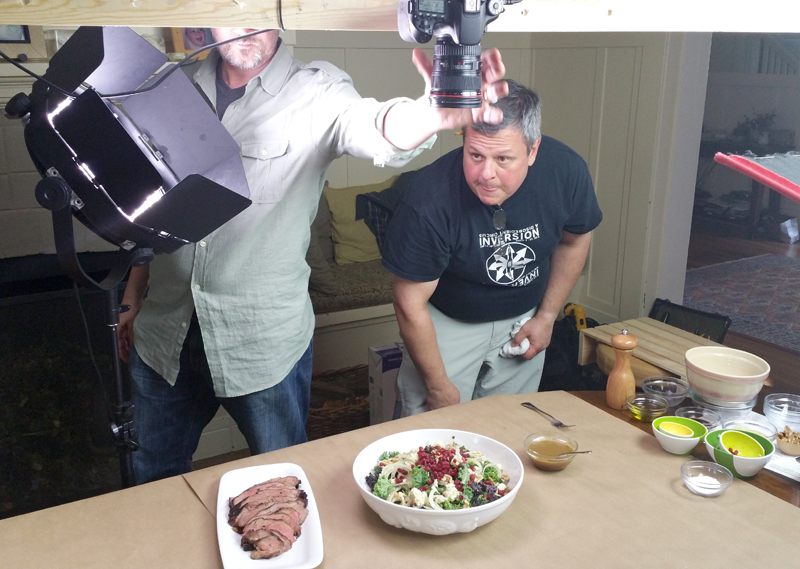 Frank (L) with chef/food stylist Chris Rossi (R) adjusting the shot using on an overhead rig.