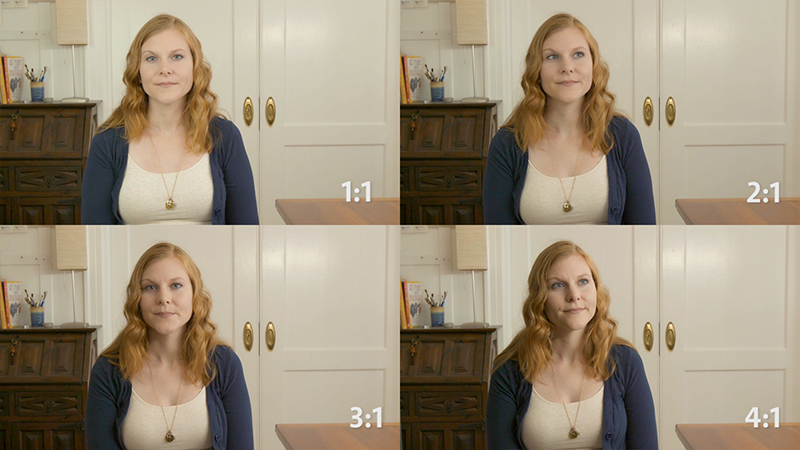 In this test, we started with a 1:1 ratio, key and fill levels are equal, then lowered our fill light level to increase our contrast range. Notice how the feeling of the shot changes. C100 mkII, 24-105mm zoom.