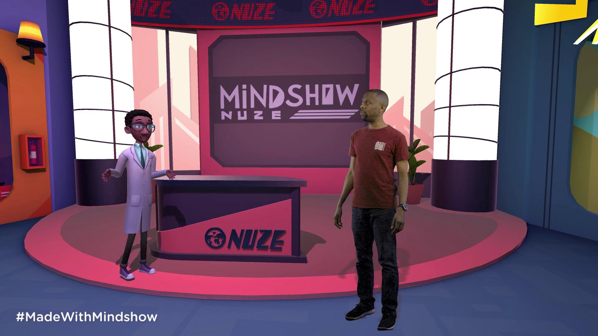 On a Mindshow virtual set.