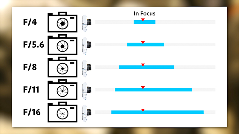 Aperture affects the depth of field, widening at higher (tighter) apertures.