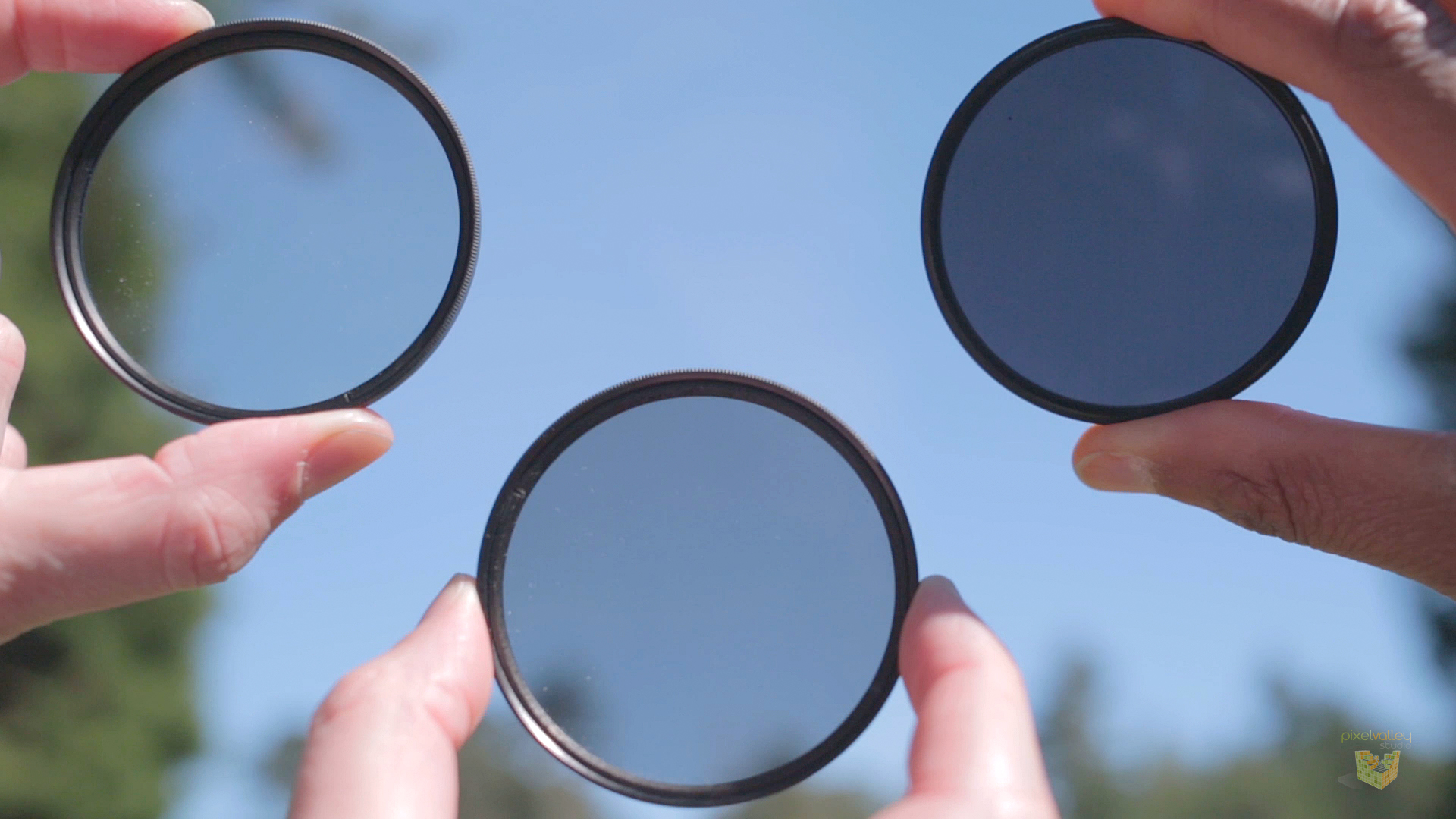Front of the lenses ND filters allow you to shoot with your lens wide open on a sunny day.