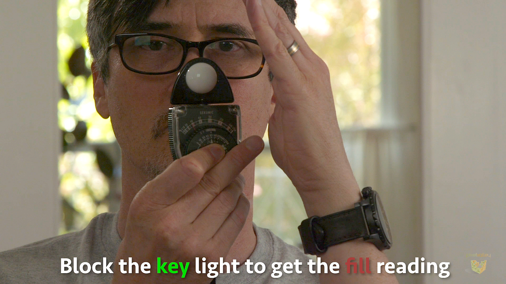 Blocking the key light off your light meter to get your fill light reading.
