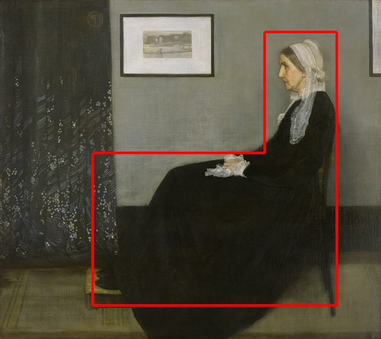 """A reverse L shape in """"Whistlers Mother"""" by James M. Whistler"""