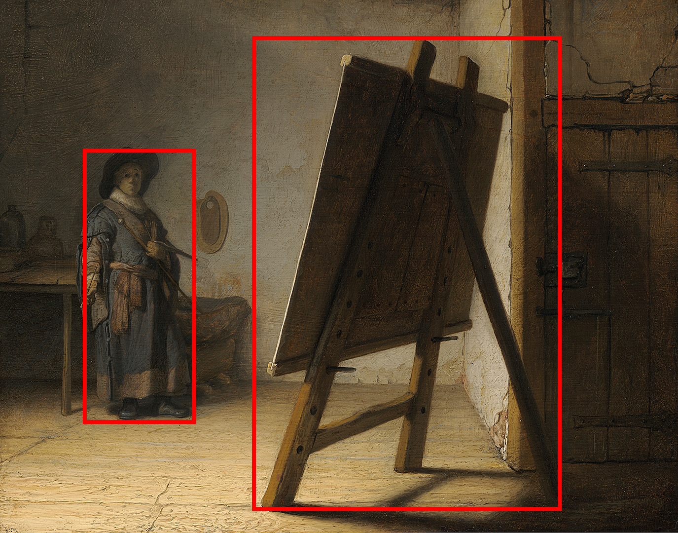 Example of asymmetrical balance creating a sense of contrast. The Artist in his Studio by Rembrandt.