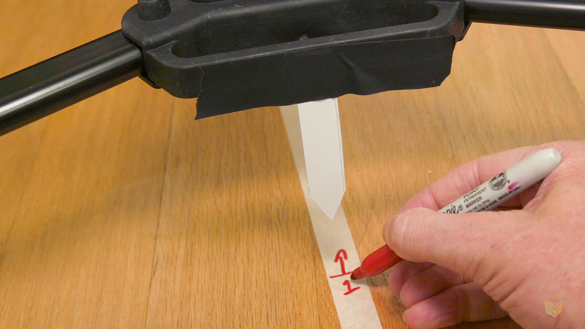 For a dolly move on the floor or track, we mark start/stop points on tape on the floor. But what about sliders?