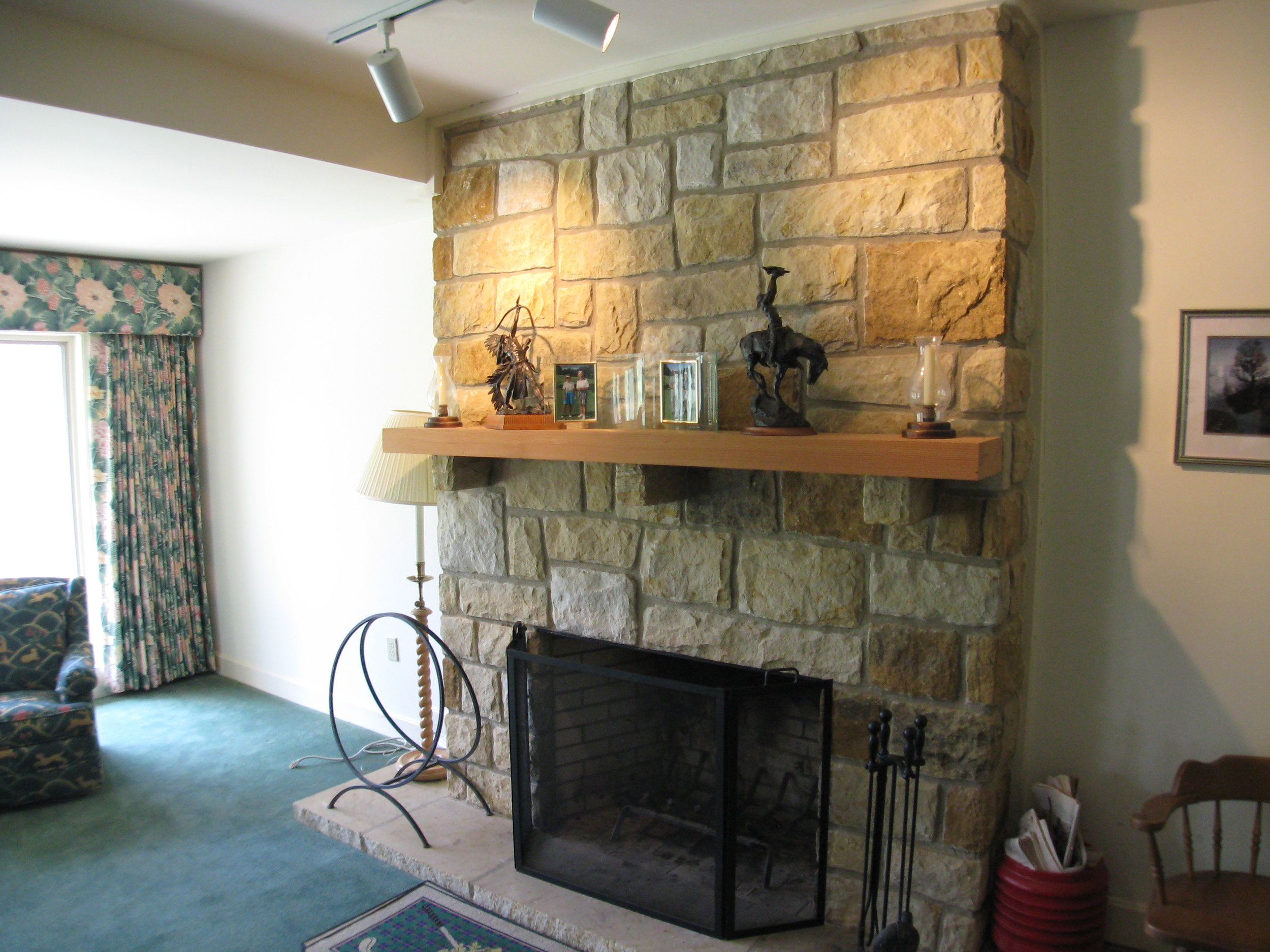 Lower Living Area Stone Fireplace