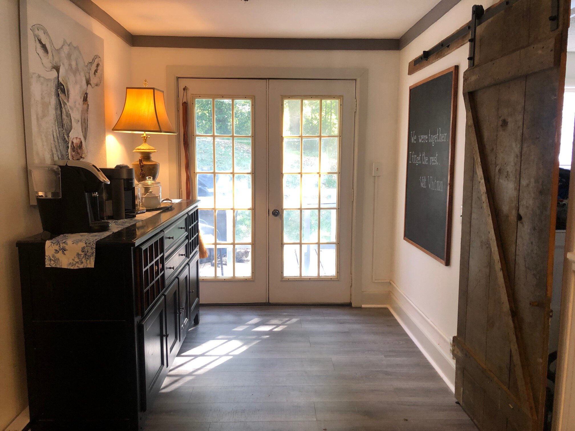 Kitchen Coffee Nook with Original Barn Door to Laundry
