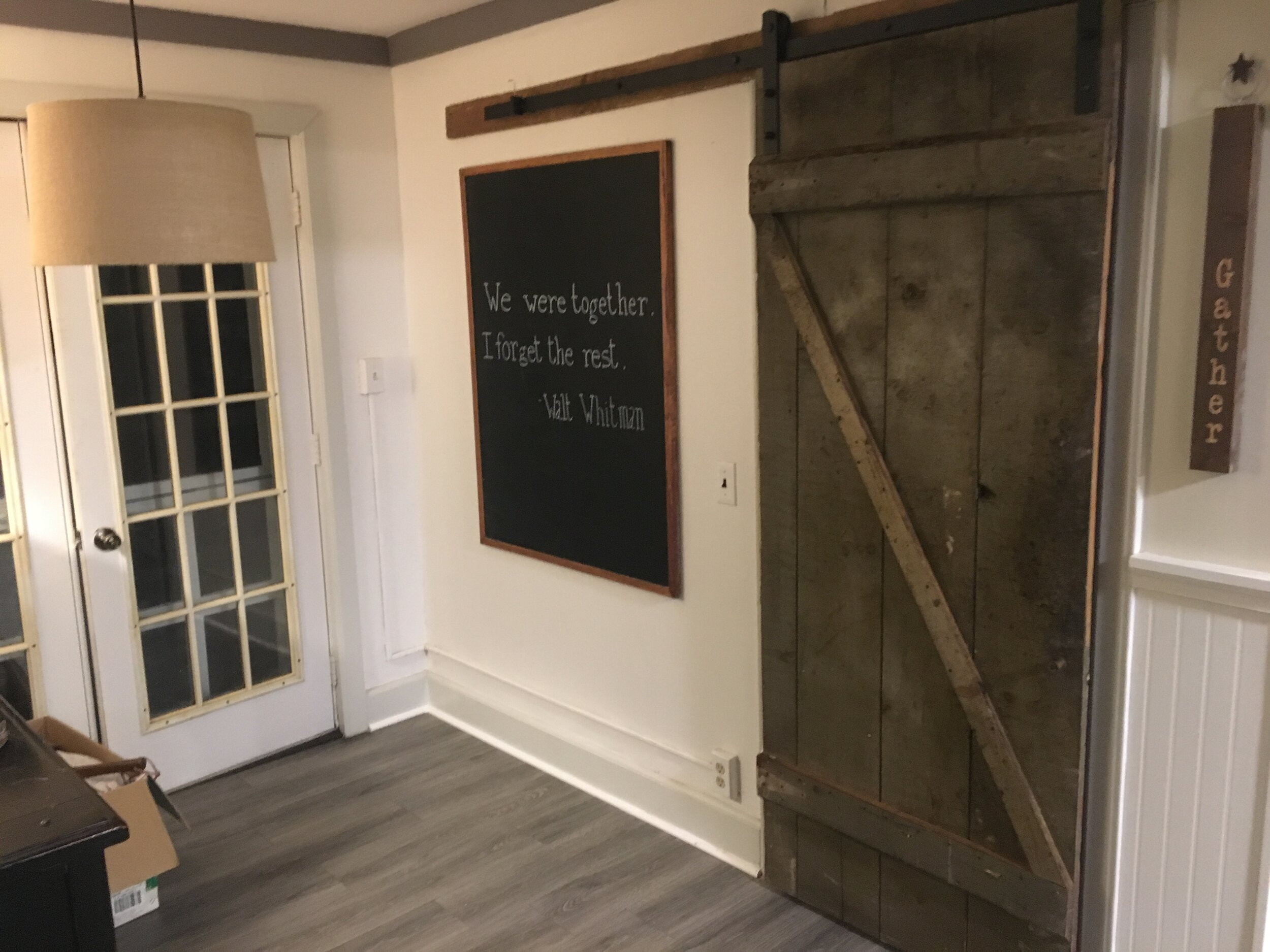 Original Barn Door in Coffee Nook leads to Walk-in Laundry
