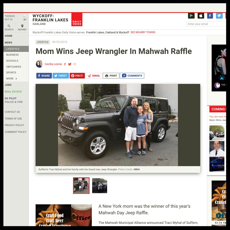 Mom Wins Jeep Wrangler In Mahwah Raffle