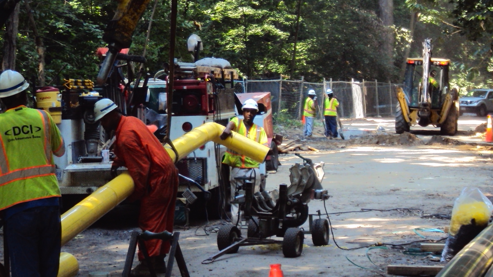 Pipe fitters fabricate the 90-degree gas line