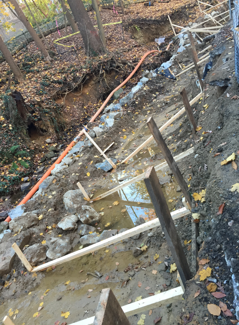 Starting to install the foundation formwork while dewatering the stream section