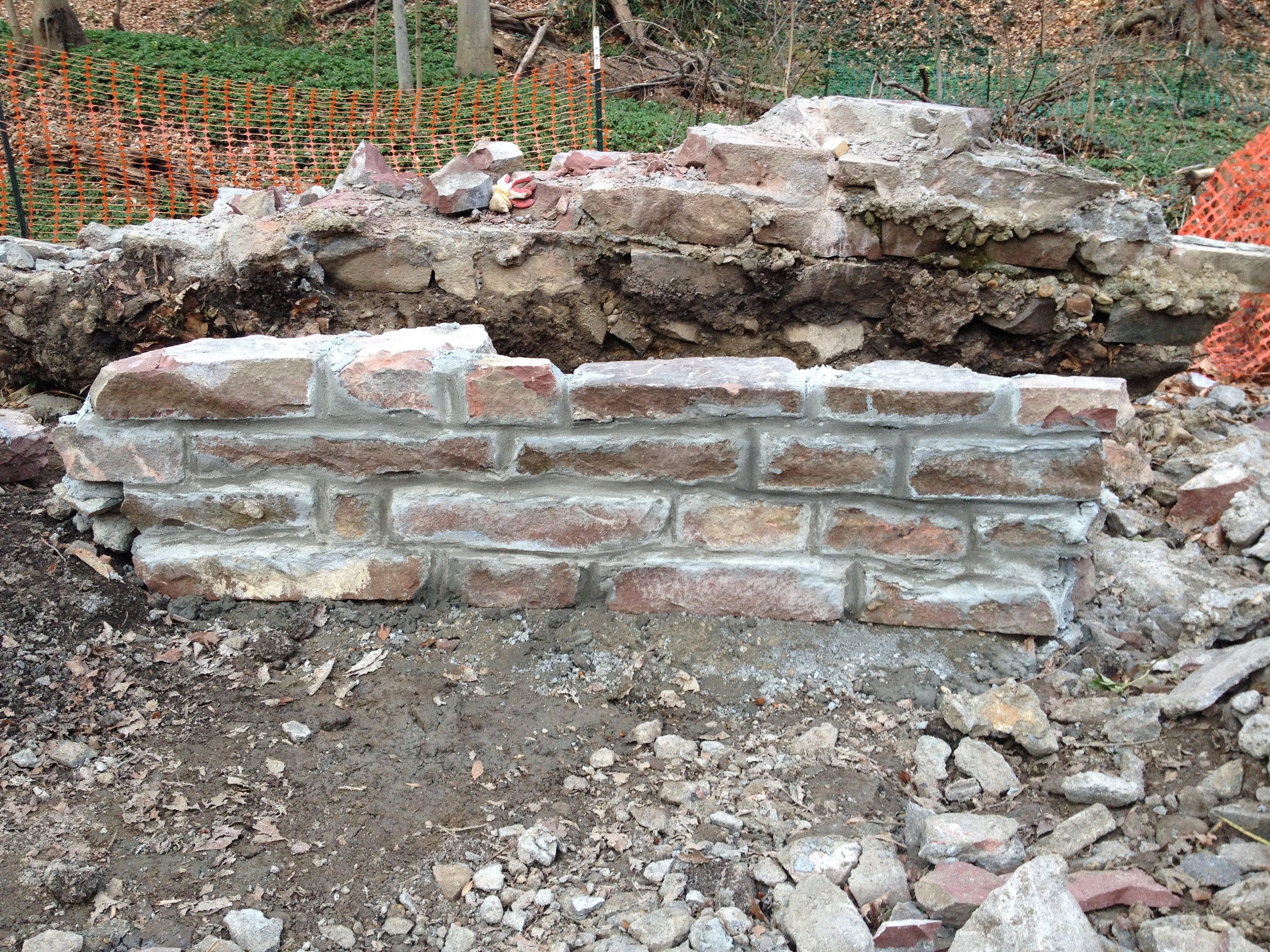 The masonry wall facade will be constructed with stone salvaged from historic retaining walls along Klingle Creek that collapsed.