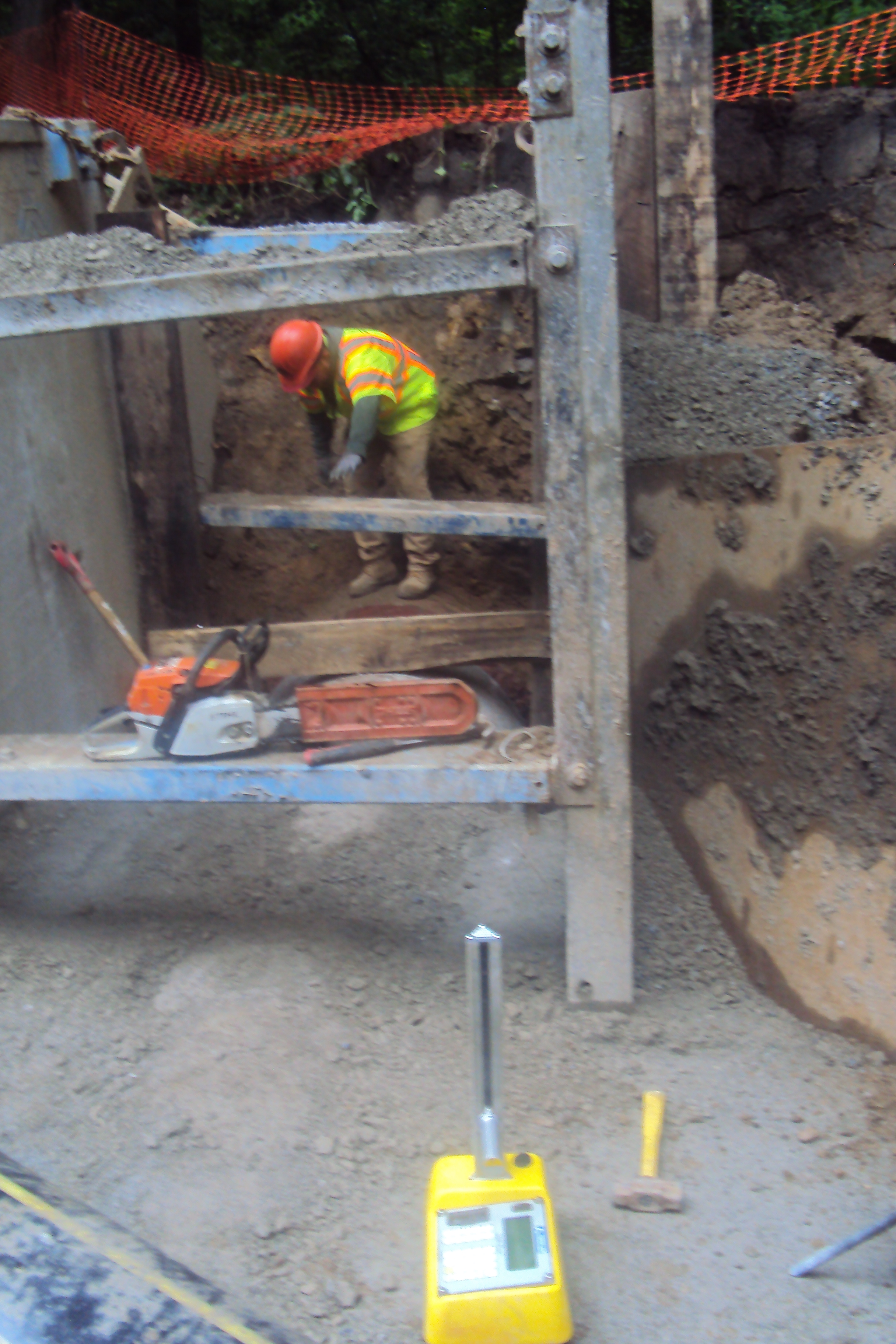 DDOT tests density of the pipe backfill; well compacted pipe backfill prevents pipe settlement and leaking