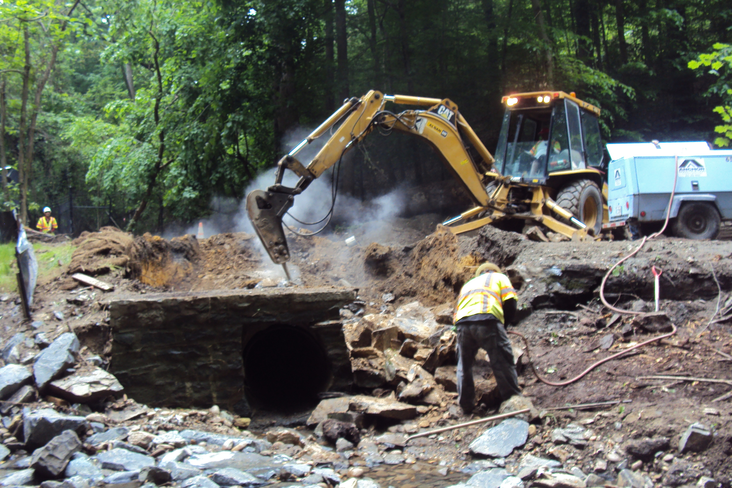 The contractor salvaged the stone from the existing culvert headwalls, some of which had collapsed