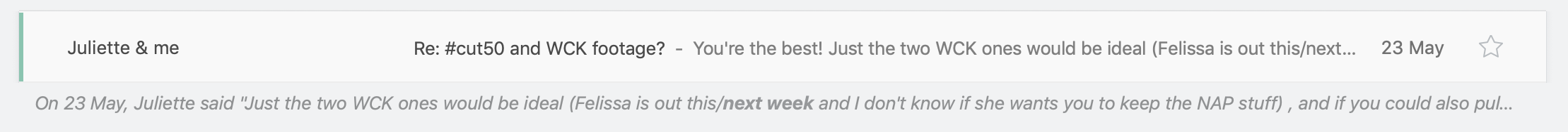 Here's the Recap feature at working, letting me know there's a deadline in this email