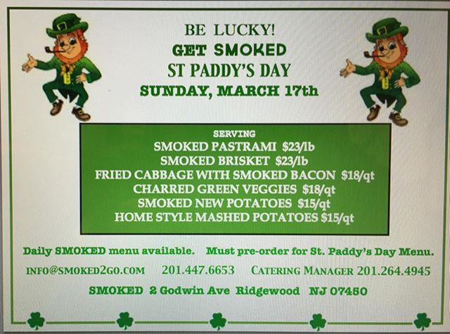 Feeling #lucky? ☘️Get SMOKED for St Paddy's Day! @smokedtogo #smoked pastrami #changeitup #greenveggies🥦 #bbq #potatoesandcabbage 🥔#smokedbacon🥓