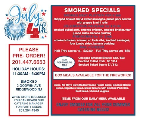 July 4th! @smokedtogo . Hours may change, so please call ahead! #bbq #thefourth #holidaymenu #smokedmeat #celebrate #july4