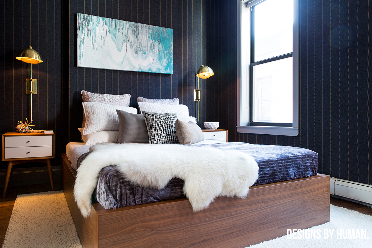 Bedroom - Cohen Townhouse by  Designs By Human . We used tones of gray in the pinstripe wallcovering, luxe bedding and pillows.