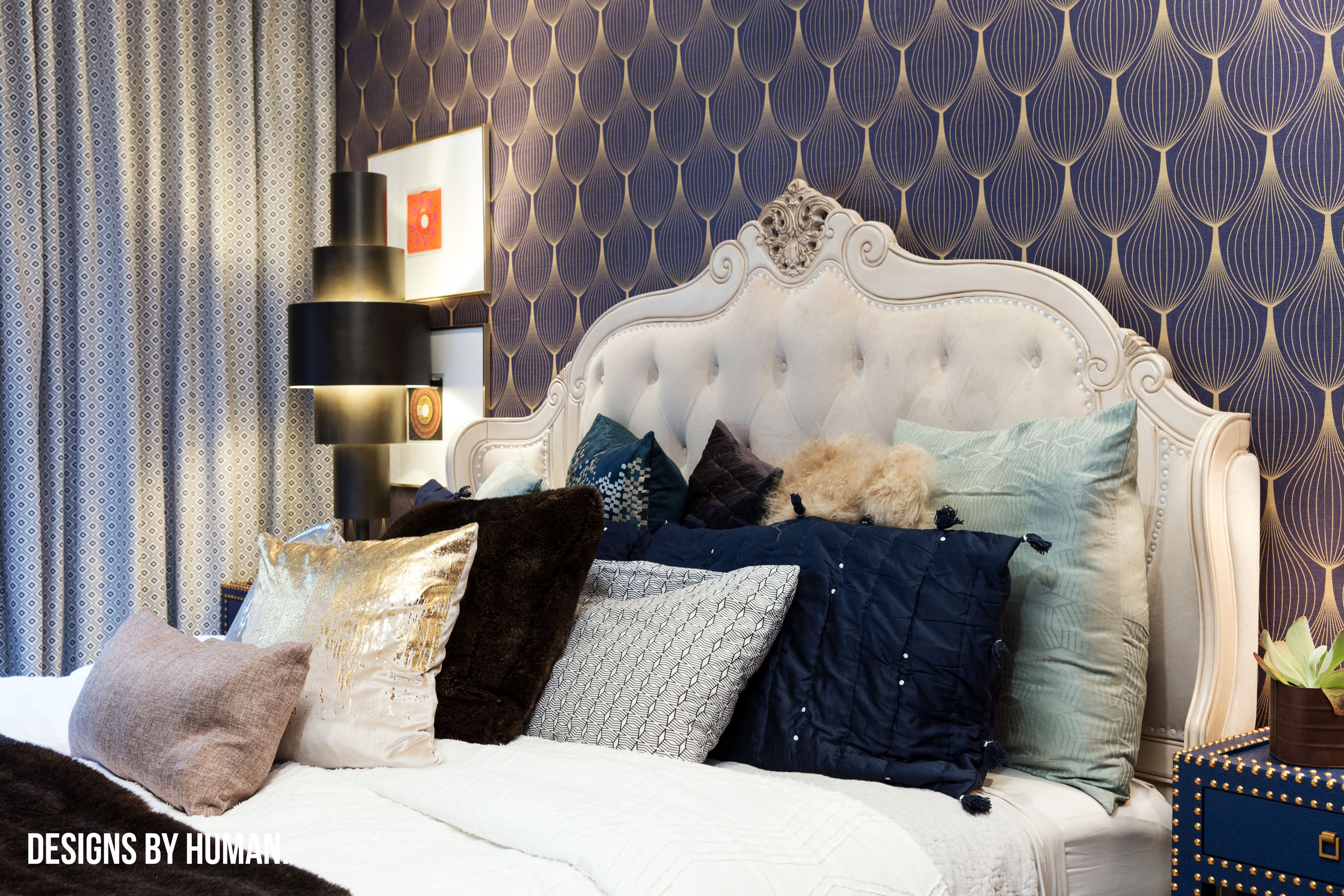Bedroom - Palan Apartment by  Designs By Human . This grande master bedroom features deep purple, blues, and browns - mixed with light tones of white, cream and beige.