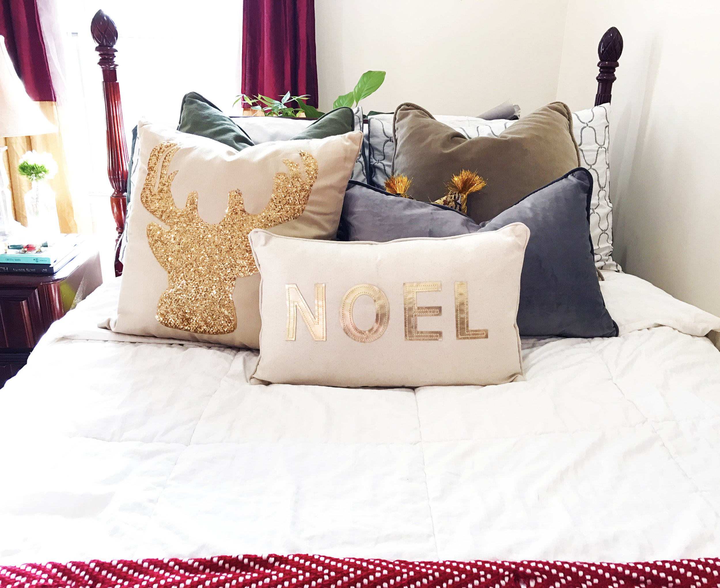 These festive pillows are an easy way to make the bed look finished.