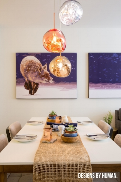 A recent Designs By Human project, featuring the Tom Dixon Melt Pendants.
