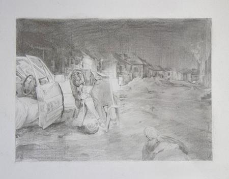 Trauma,graphite on paper, 31 x 35 cm,2014