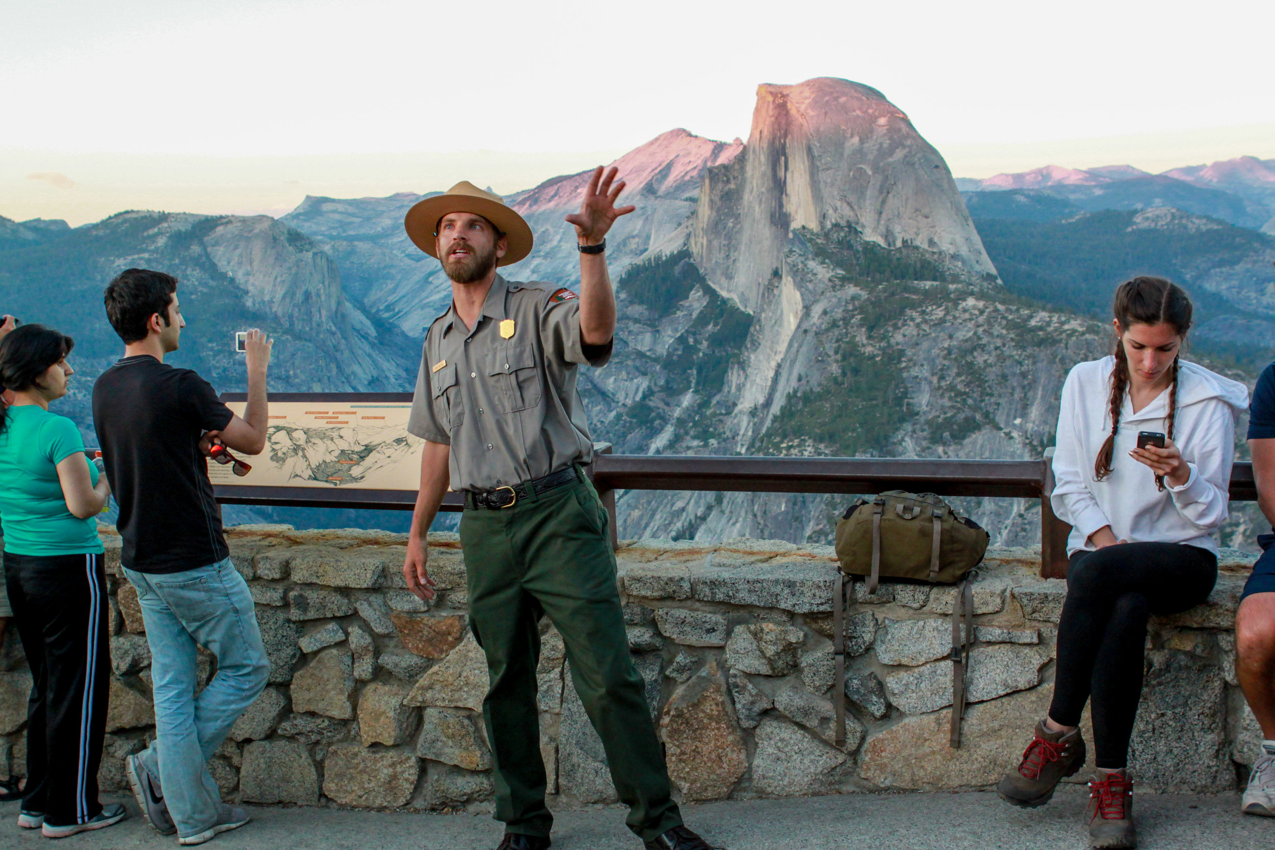 A Ranger Giving a Talk on Yosemite Geography at Glacier Point, 2012