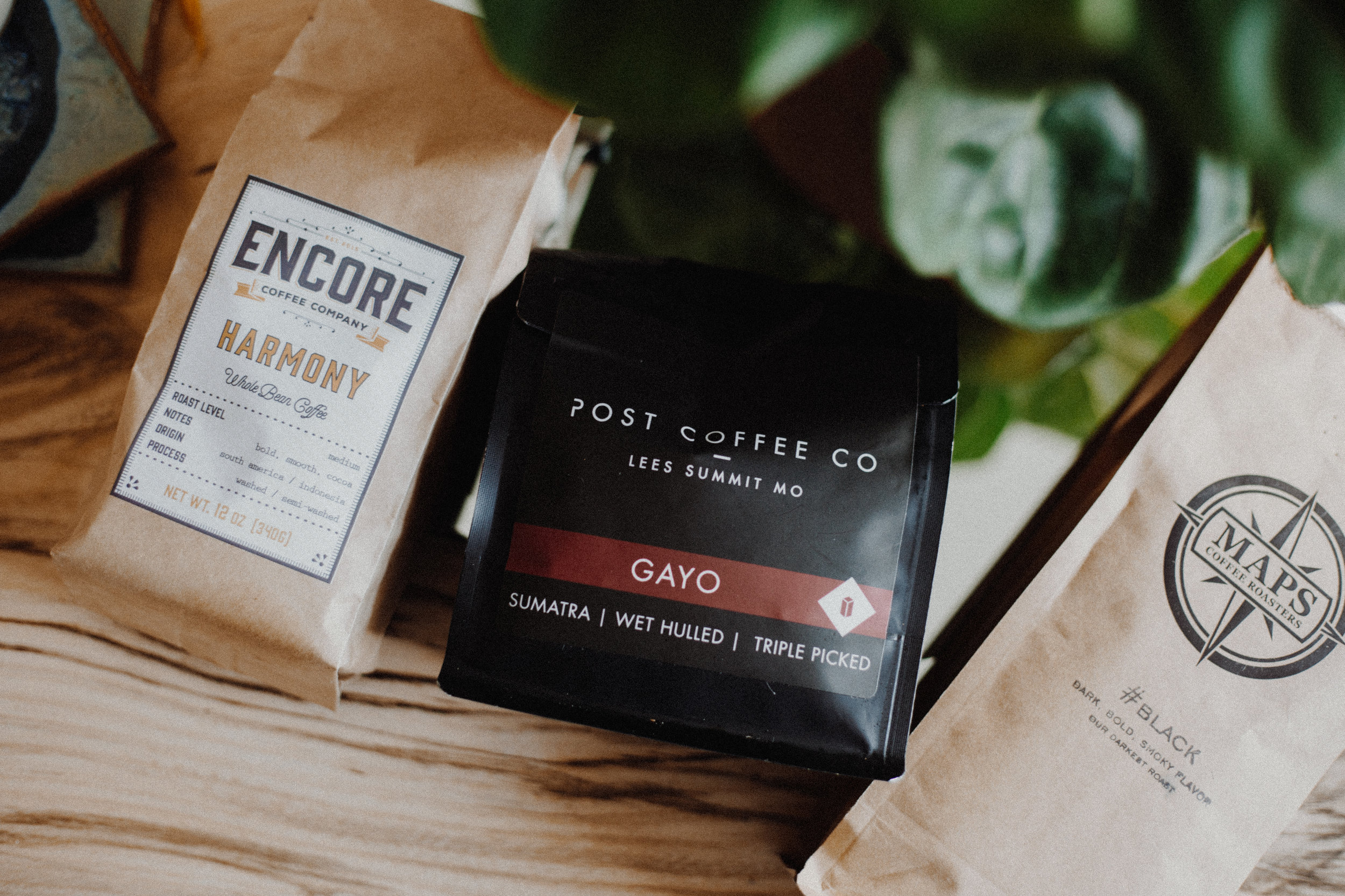 The three bags of coffee I received during my subscription!