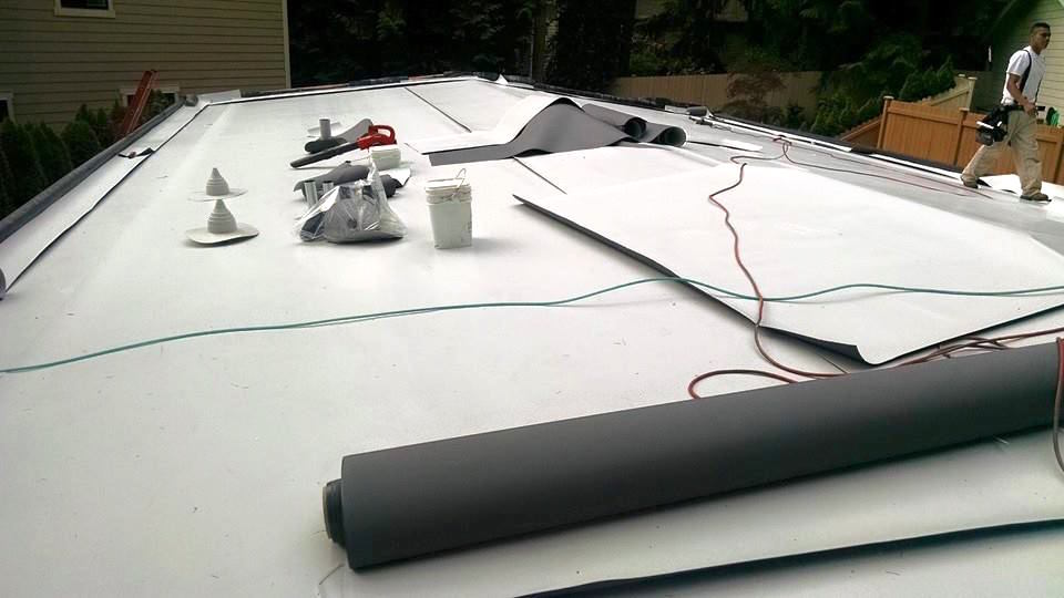 GAF TPO Single Ply Membrane Residential Flat Re-Roof Project in Bellevue, WA