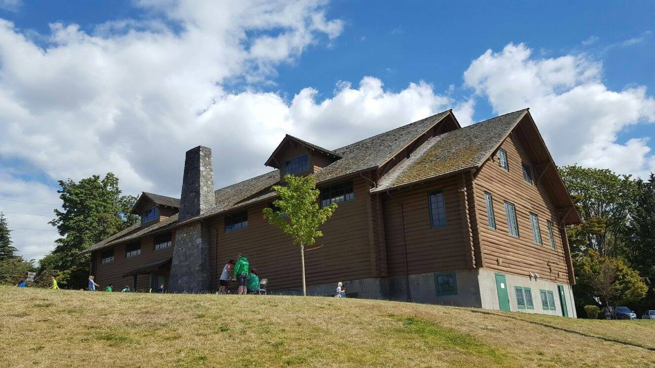 Before Old Cedar Shake Roof was removed from Historical Field House Building in Des Moines, WA