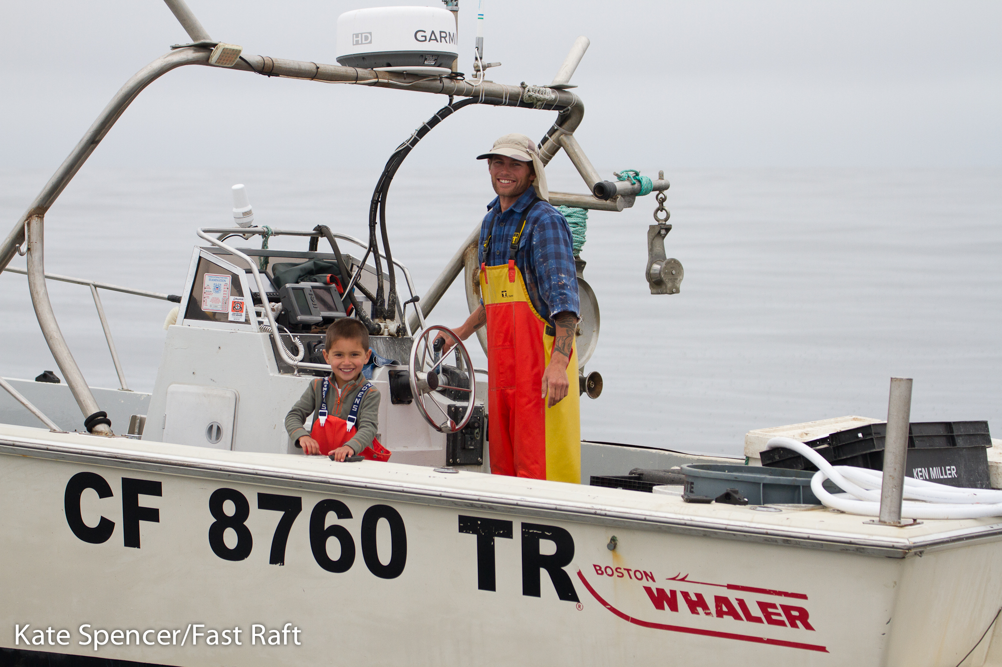 "Fisherman Calder Deyerle and his 5-year old son, Miles, immediately reported the distressed whale. Miles insisted they stay with the whale until a response team arrived because, as he said, ""saving an injured animal is more important."""